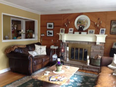 South Huntington Ranch - Stone Fireplace in Living Room with Mantel - SOLD